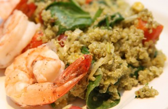 Pesto Quinoa with corn, shrimp and spinach