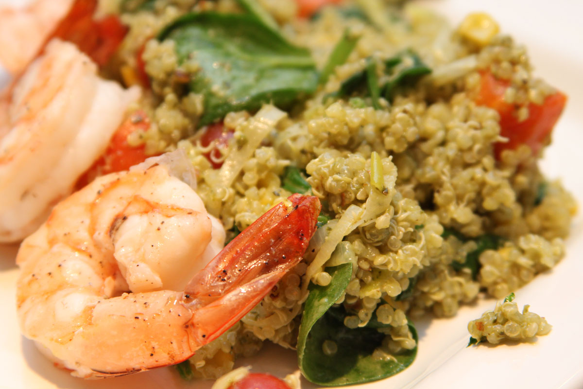 Pesto Quinoa with corn, shrimp and spinach