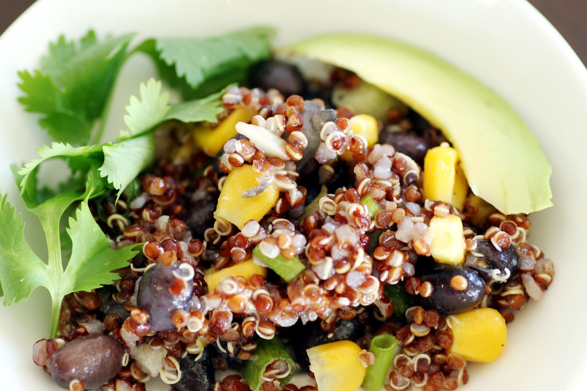 quinoa salad with beans and corns