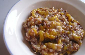 Red quinoa peach porridge tea syrup