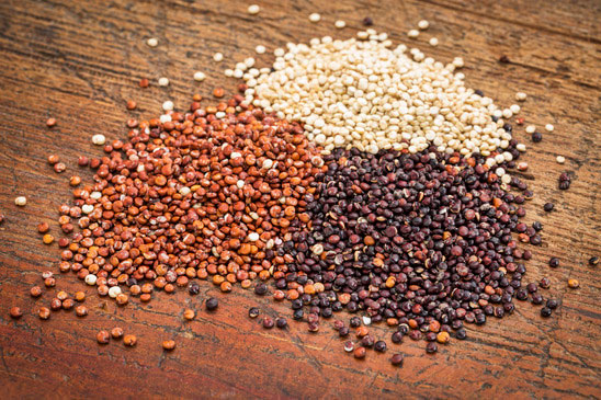 Red, black and white quinoa