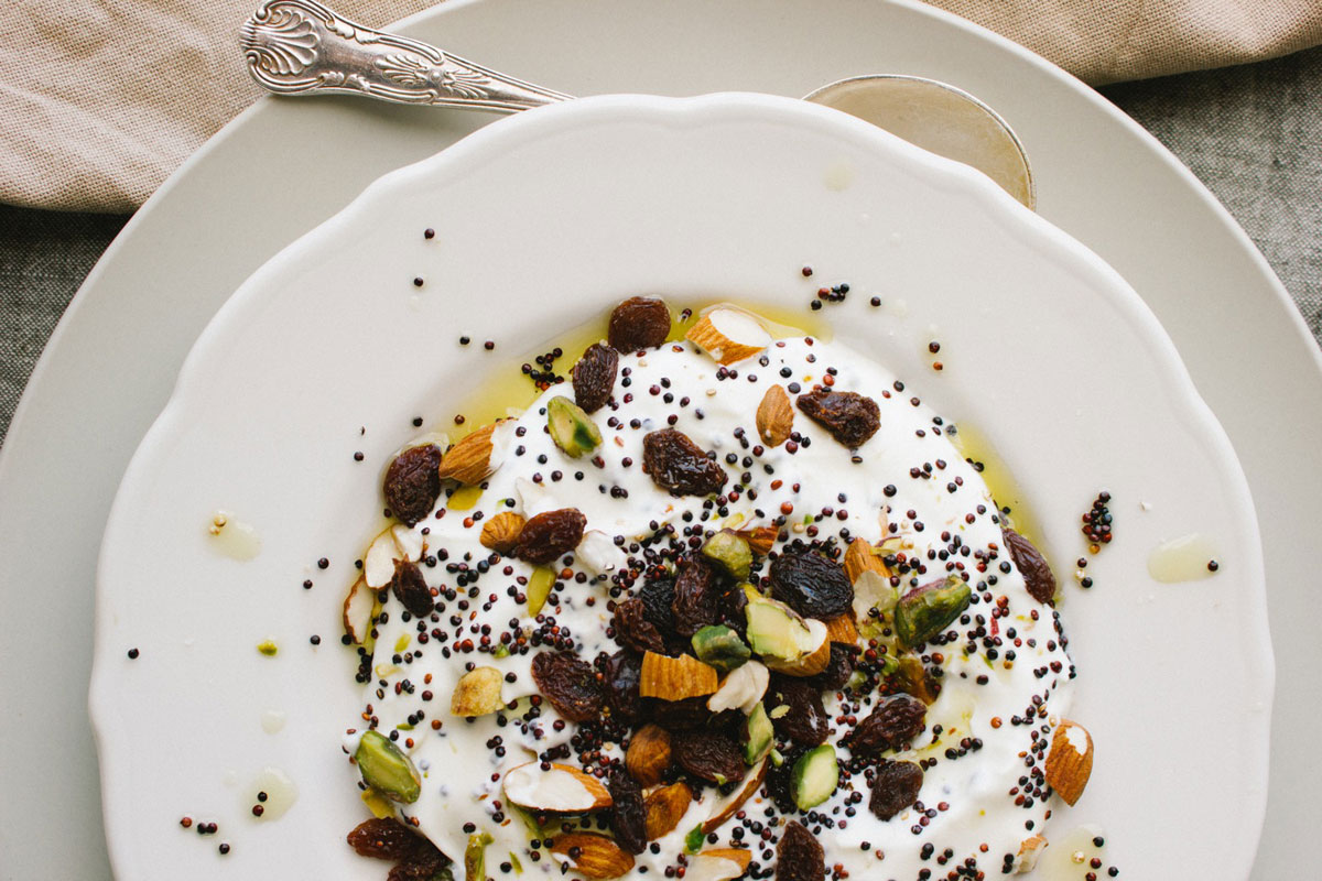 Quinoa nuts and fruit with yoghurt