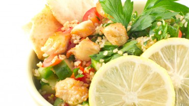 Citrus Marinated Chicken and Quinoa Salad with Pita Chips