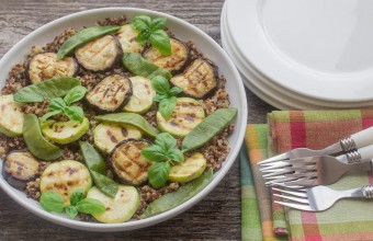 Grilled Eggplan and Apple Quinoa Salad