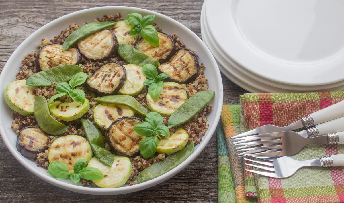 Grilled Eggplan and Apple Quinoa Salad