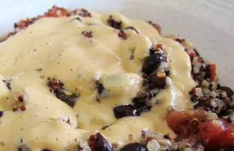 Quinoa Black Beans with Cashew Qeso Sauce