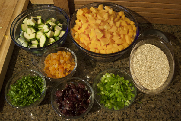 Vegetables to quinoa stuffing