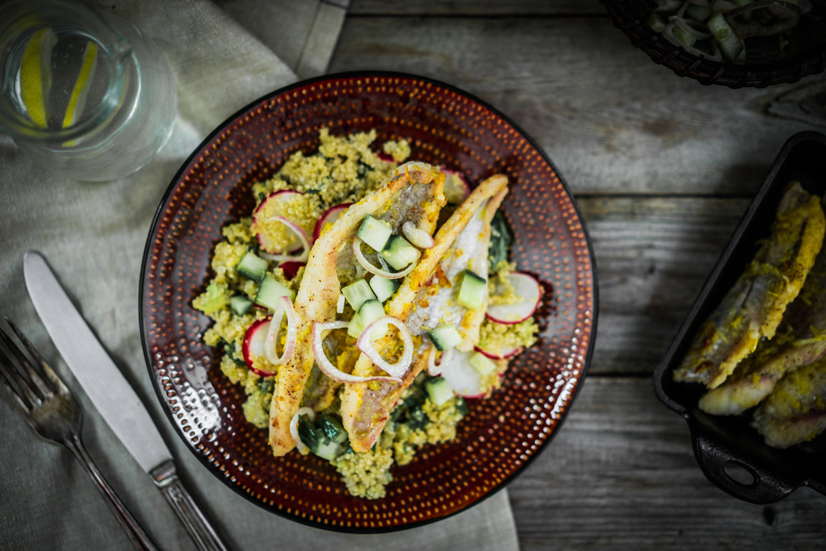 Catfish with Quinoa and Radish Salad