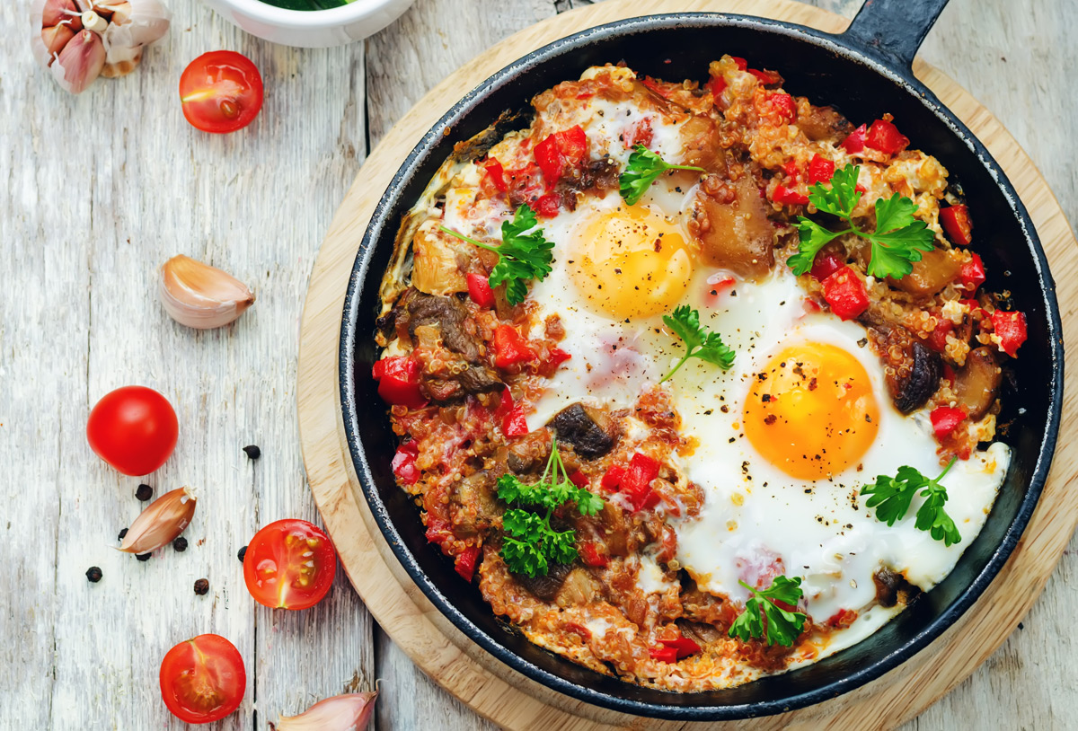 Quinoa, Mushroom and Tomato Bowl with Eggs