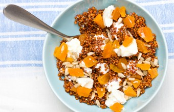Red Quinoa and Dried Apricots with Goat Cheese