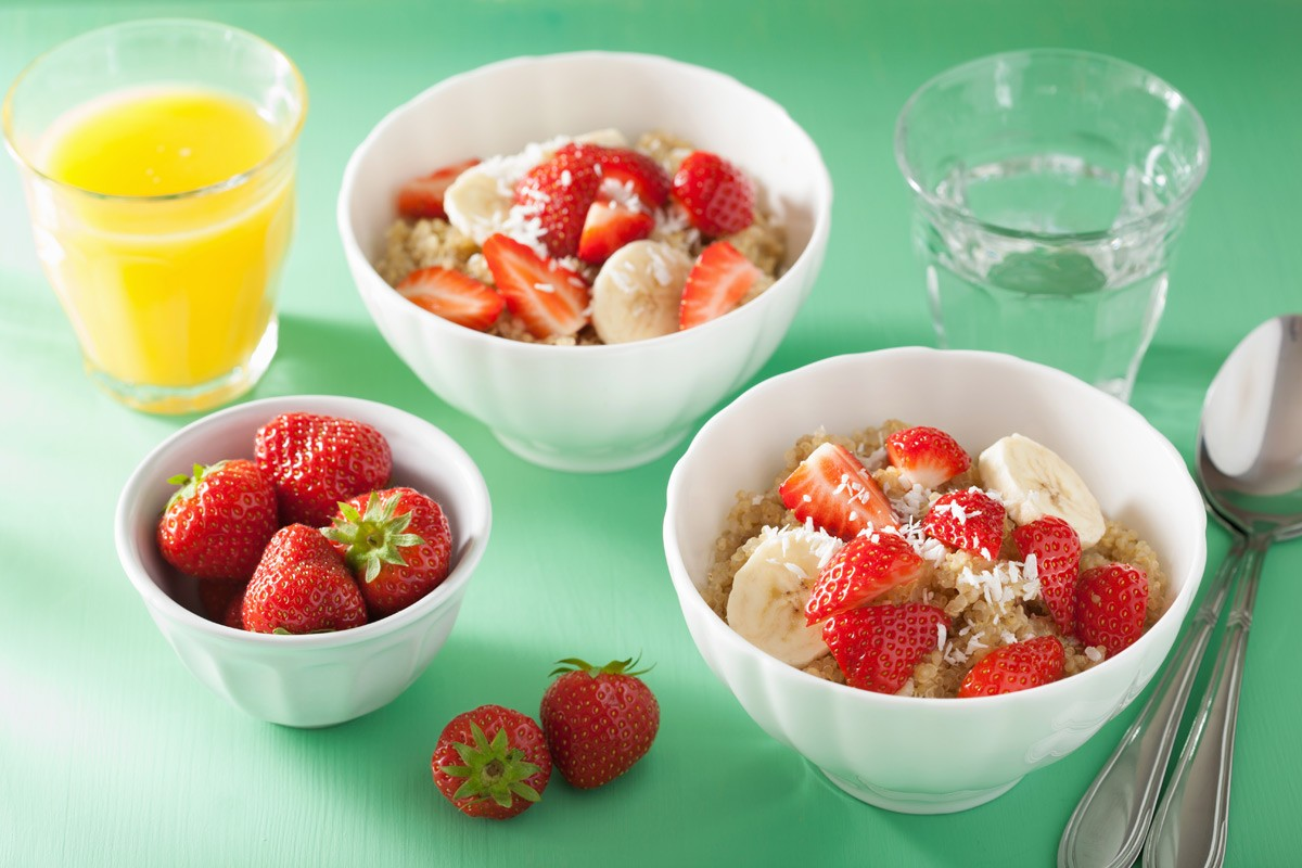 Strawberry, Banana and Coconut Quinoa Bowls
