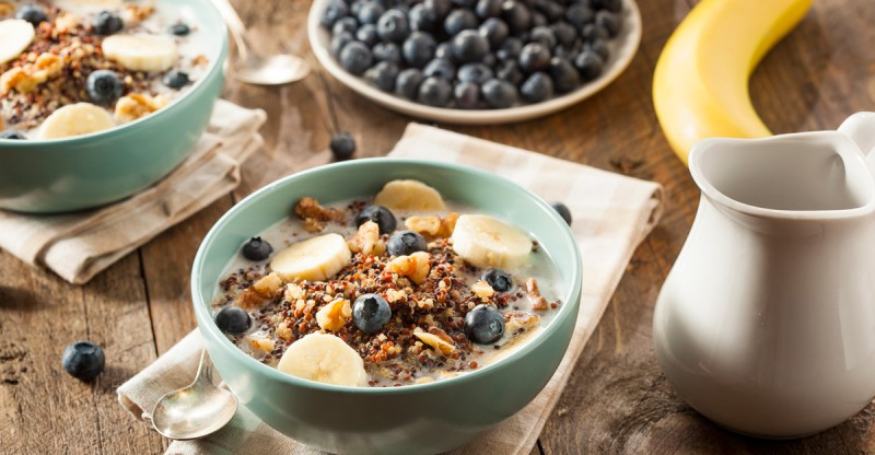 Breakfast Recipe with blueberry bannana and quinoa