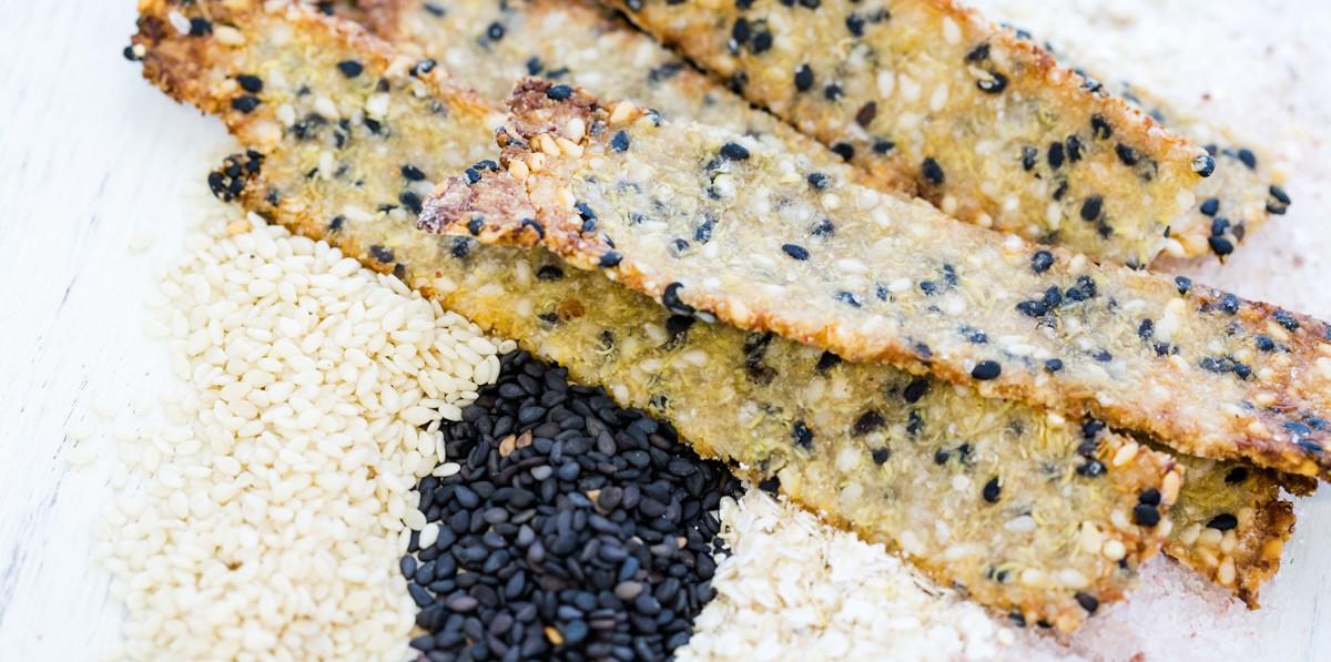 Crispy Quinoa Sesame Crackers