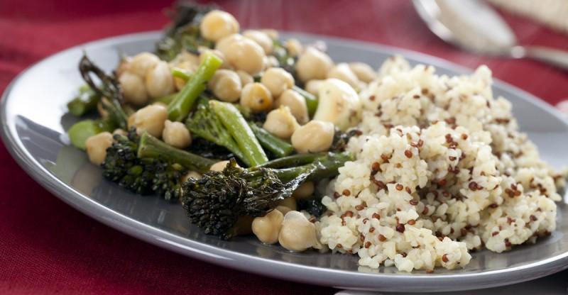 Quinoa Bulgur Broccoli Green Bean Chickpea Stir-Fry