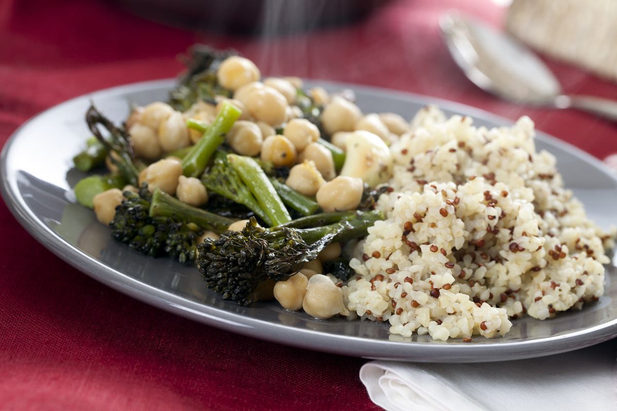 Quinoa Bulgur Broccoli Green Bean Chickpea Stir-Fry