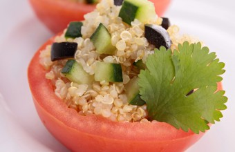 Quinoa Cucumber with Olive Stuffed Tomatoes